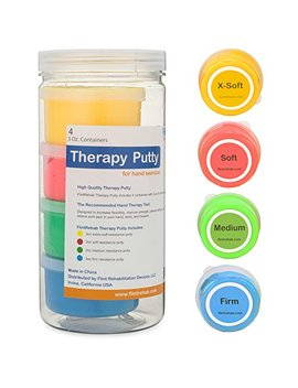 Premium Quality Therapy Putty (4 Pack, 3 Oz Each) For Hand Exercise: Variable Resistance Containers For Rehab Therapy And Stress Relief By... by Flint Rehabilitation Devices