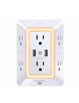 Usb Wall Charger, Surge Protector, Powrui 6 Outlet Extender With 2 Usb Charging Ports (2.4 A Total) And Night Light, 3 Sided Power Strip With Adapter Spaced Outlets   White by Powrui