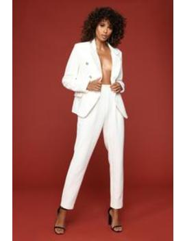Beverly And Wilshire Blazer Set   Ivory by Fashion Nova