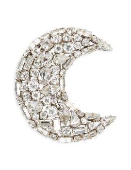 Crystal Crescent Moon Brooch by Saint Laurent