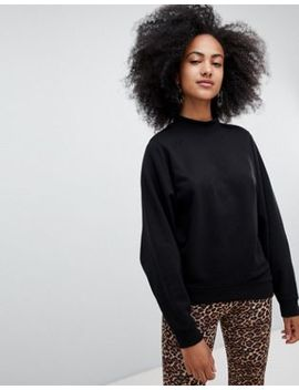 Monki High Neck Oversized Sweatshirt In Black by Monki