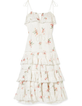 Heathers Lace Trimmed Tiered Pintucked Floral Print Cotton Voile Dress by Zimmermann