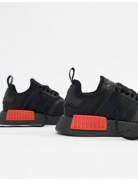 Adidas Originals Nmd R1 Sneakers In Black With Red Heel Block by Adidas