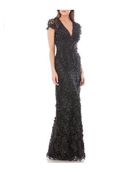 V Neck 3 D Embellished Fleurette Gown by Carmen Marc Valvo