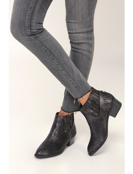 Knock Black Snake Stella Suede Ankle Booties by Dv By Dolce Vita
