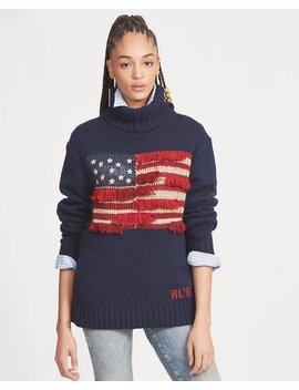 Fringe Trim Flag Sweater by Ralph Lauren