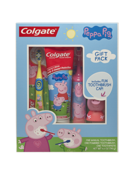 Colgate Kids Toothbrush, Toothpaste, Toothbrush Cap Gift Set   Peppa Pig by Colgate