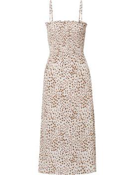 Solange Smocked Floral Print Crepe Midi Dress by Faithfull The Brand