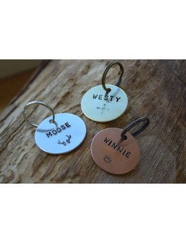 Hand Stamped Personalised Custom Brass Copper Or Aluminium  Pet Tag   Dog Tag   Pet Tag  Aluminum Design Stamp On Front & Mobile On Back by Etsy