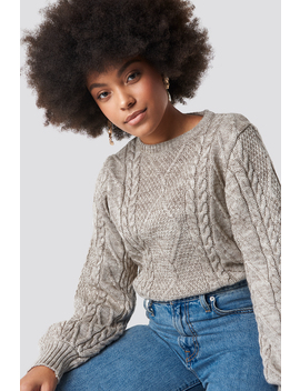 Weave Detailed Sweater Beige by Na Kd