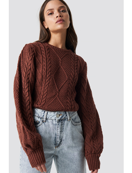 Weave Detailed Sweater Brick by Na Kd