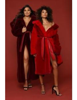 Never Get Cold Fur Coat   Red by Fashion Nova