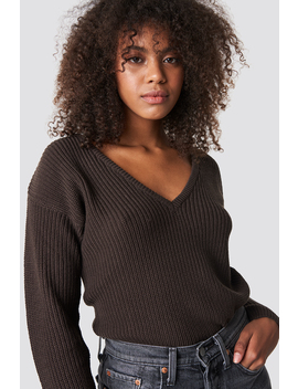 Deep Front V Neck Knitted Sweater Brown by Na Kd