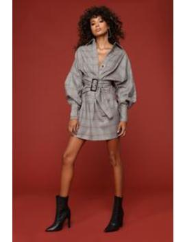 Pretty And Plaid Dress   Taupe by Fashion Nova