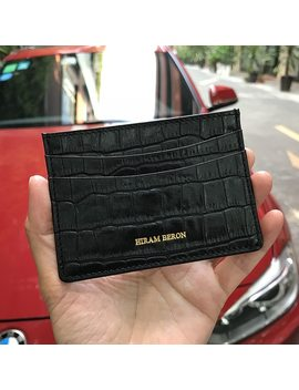 Hiram Beron Genuine Leather Card Holder Men Cow Leather With Crocodile Pattern Wallet Free Custom Name Id Credit Card Wallet  by Hiram Beron
