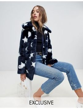 Jakke Mid Length Faux Fur Jacket In Celstial Print by Jakke
