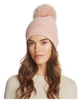 Slouchy Hat With Fox Fur Pom Pom   100 Percents Exclusive by Kyi Kyi