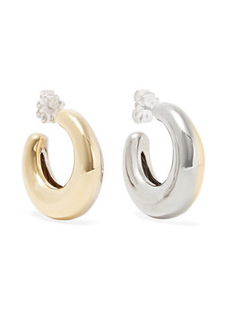 Two Tone Bubble Gold Tone And White Bronze Hoop Earrings by Leigh Miller