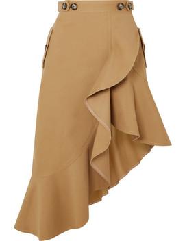 Asymmetric Ruffled Cotton Canvas Skirt by Self Portrait