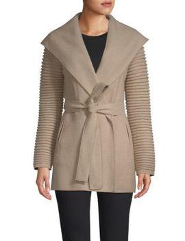 Rib Sleeve Alpaca Wrap Coat by Sentaler