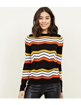Black Chevron Stripe Pointelle Jumper by New Look