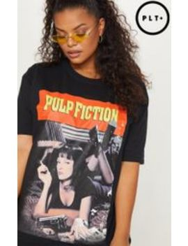 Plus Black Pulp Fiction Slogan T Shirt by Prettylittlething