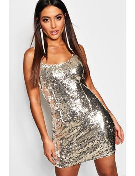 Sequin Strappy Bodycon Dress by Boohoo