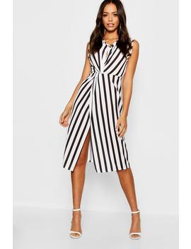 Button Detail Twist Front Dress by Boohoo