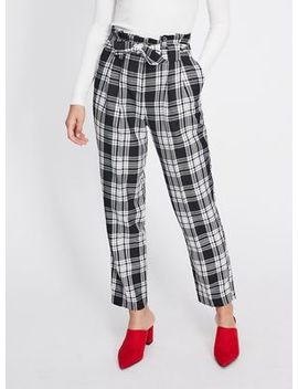 Miss Selfridge   Bold Check Paperbag Trousers by Miss Selfridge