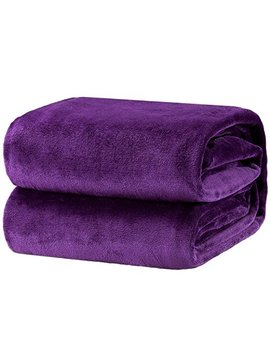 Bedsure Flannel Fleece Luxury Blanket Purple King Size Lightweight Cozy Plush Microfiber Solid Blanket by Bedsure