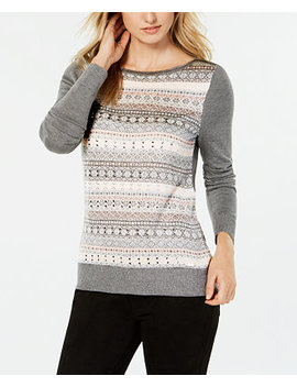 Crew Neck Fair Isle Sweater, Created For Macy's by Tommy Hilfiger
