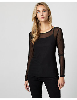 Mesh Crew Neck Top by Le Chateau