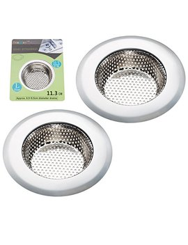 "Fengbao 2 Pcs Kitchen Sink Strainer   Stainless Steel, Large Wide Rim 4.5"" Diameter by Fengbao"