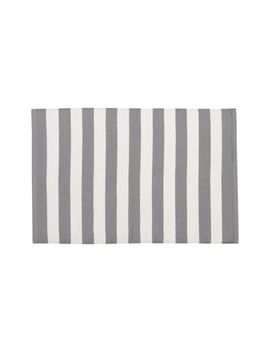 Olin Grey Striped Cotton Dhurrie 2'x3' Rug by Crate&Barrel