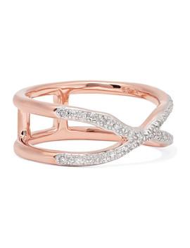 Riva Wave Cross Rose Gold Vermeil Diamond Ring by Monica Vinader