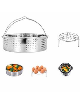 Hap Way Stainless Steel Steamer Basket With Egg Steam Rack Trivet Compatible Instant Pot 5,6,8 Qt Electric Pressure Cooker by Hap Way