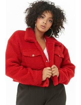 Plus Size Faux Shearling Cropped Jacket by Forever 21