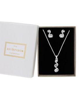 Jon Richard   Silver Crystal Wave Jewellery Set In A Gift Box by Jon Richard