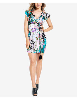 Floral Print Surplice Dress by Guess