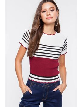 Stripe Color Block Knit Tee by A'gaci