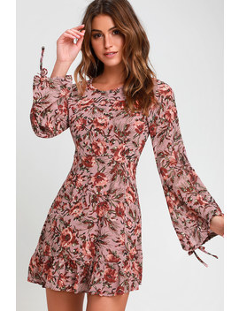 Absolute Admiration Mauve Floral Print Long Sleeve Dress by Lulu's