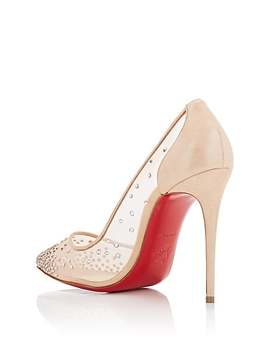 Follies Crystal Embellished Mesh & Suede Pumps by Christian Louboutin