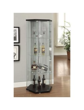Kingfisher Lane Hexagon Glass Curio Cabinet In Black by Kingfisher Lane