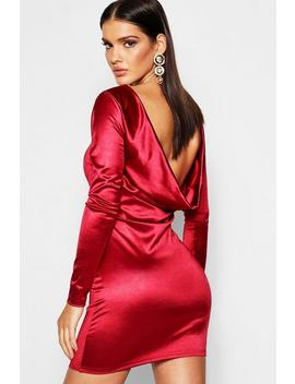 Satin Cowl Back Long Sleeve Mini Dress by Boohoo