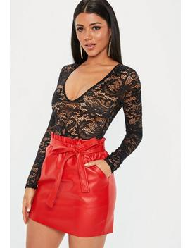 Red Tie Waist Faux Leather Mini Skirt by Missguided