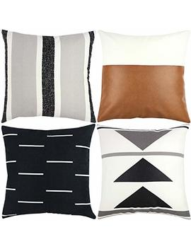 Woven Nook Decorative Throw Pillow Covers Only For Couch, Sofa, Or Bed Set Of 4 18 X 18 Inch Modern Quality Design 100 Percents Cotton Black White Geometric Faux Leather Zulu Set by Woven Nook