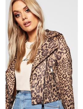 Plus Leopard Print Suedette Biker Jacket by Boohoo