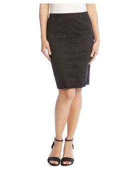 Faux Suede Pencil Skirt by Karen Kane