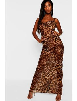Leopard Mesh Maxi Dress by Boohoo