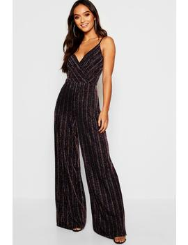 Petite Rainbow Wrap Front Jumpsuit by Boohoo
